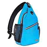 MOSISO Sling Backpack, Polyester Crossbody Shoulder Bag for Men Women Girls Boys, Sky Blue