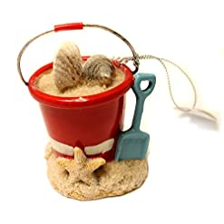 Beach Themed Christmas Ornaments Midwest-CBK Christmas Decoration 3 Inch Beach Pail with Shells and Shovel Christmas Ornament beach themed christmas ornaments
