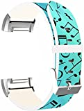 Fitbit Charge 2 Bands Leather - Fitbit Charge 2 Strap Small & Large Silver Women Men - Blue Music Note