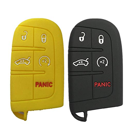 2Pcs MJKEY Black Yellow Silicone 5 Buttons Remote Smart Key Fob Case Cover Skin Holder Protector for Jeep Grand Cherokee Chrysler 300 Dodge Challenger Charger Dart Durango Journey (Jeep Keychain Yellow)