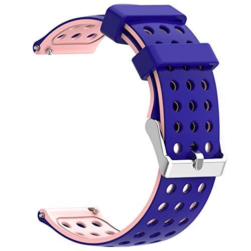 Moretek Quick Release Watch Band Silicone Sport Wrist Bands Women Men Strap for Smartwatch 18mm 20mm 22mm (BluePink, 22mm)