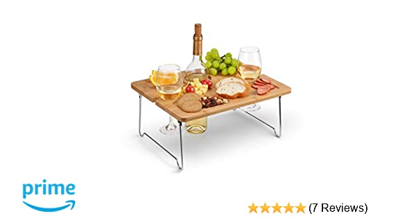 Amazon Kato Outdoor Wine Picnic Table Folding Portable Bamboo