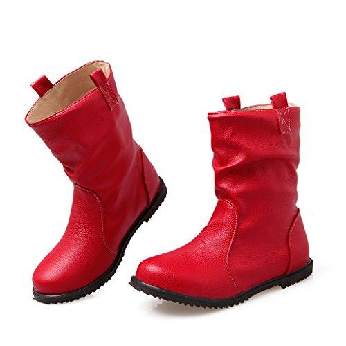 Dear Time Women Winter Flat Ankle Boots Red j6KGDCS