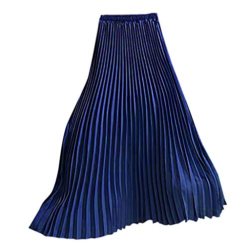 Womens Long Pleated Skirt Ladies Vintage High Waist Fold Solid Color Loose Beach Maxi Skirt New 2019 (Free, Sky Blue)]()