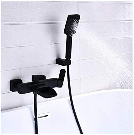 ハンドヘルドシャワー付き壁掛け式滝浴槽の蛇口真鍮の浴槽の蛇口セット多機能シングルハンドルシャワーミキサータップ冷水と温水,クロム