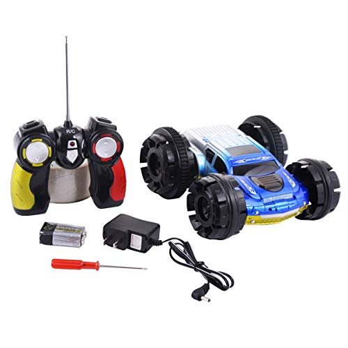 Blue Double-Sided Electric Remote Control Stunt Car Toys & Hobbies Radio Control & Control Line RC Model Vehicles & Kits Cars, Trucks & Motorcycles Children, Marvelous Appearance Function. from Lek Store