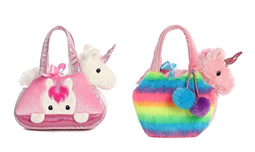 Aurora Fancy Pals Pet Carrier Set of 2 - Rainbow Unicorn and Peek-a-boo (Aurora Down Pillow)