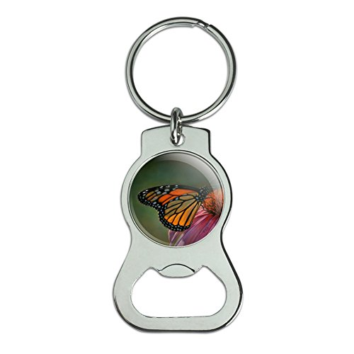 Monarch Butterfly and Coneflower Bottle Cap Opener Keychain Key Ring