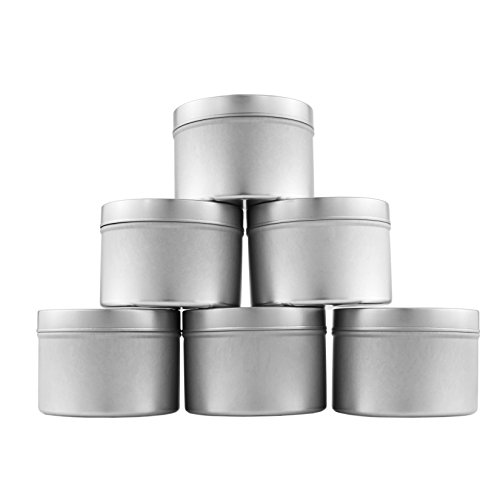 Medium 8oz DIY Candle Tin Jars, Great Survival Candle Tins (6 Pack), Also Great for Dry Storage, Spices, Camping, Party Favors, and Gifts