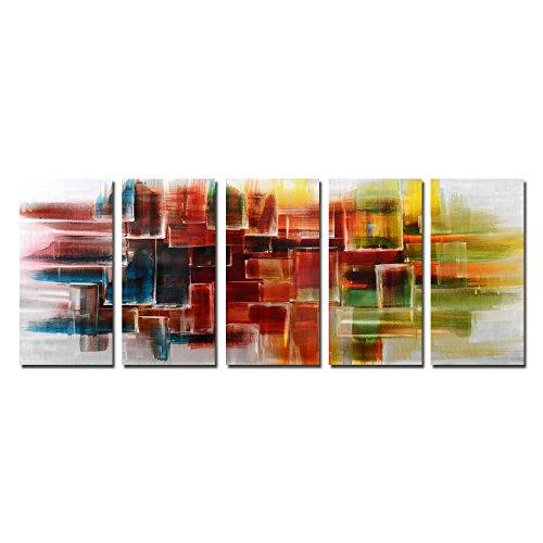 Yihui Arts Handmade Abstract Colorful Metal Wall Decor Art (24Wx64L)