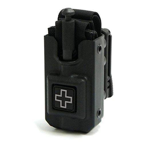 RIGID SOFTT Wide Tourniquet Case, Belt (Tek-Lok) Attachment, Black with GRAY CROSS (Tourniquet Not Included) - Tourniquet Velcro