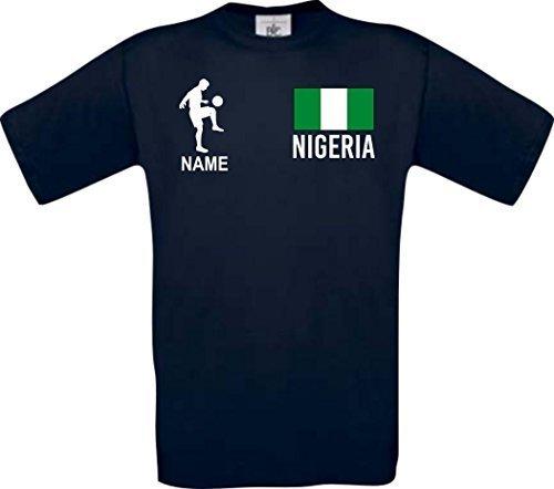 Shirtstown Camiseta De Hombres Camiseta de Fútbol Nigeria con Su Nombre Deseado Estampado - Azul Marino