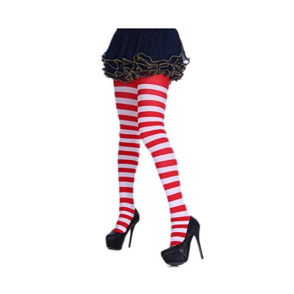 3 Pairs Full Footed Striped Socks Christmas Thigh High Stockings