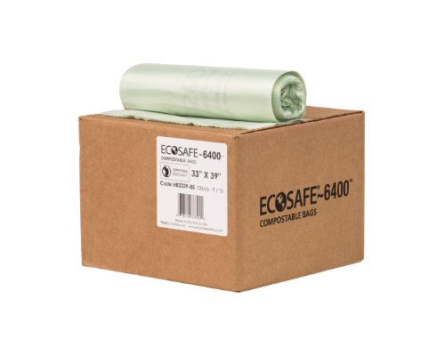 EcoSafe-6400 HB3339-85 Compostable Bag, Certified Compostable, 35-Gallon, Green (Pack of 135) by EcoSafe (Image #2)