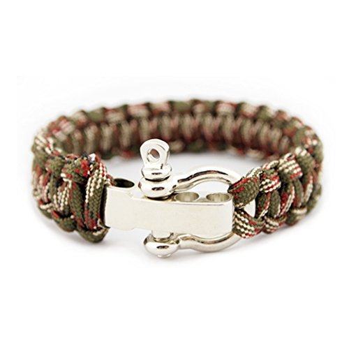 Essentials Paracord Bracelets with Stainless Metal Bow Shackle - Green Red and White Camouflage Style