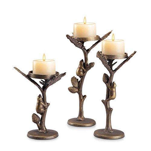 (Aspen Bear Pillar Candleholder Set of)