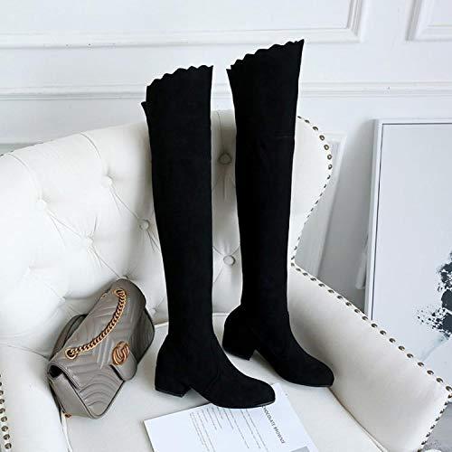 KPHY KPHY KPHY Damenschuhe/Knielange Stiefel Dünne Beine Mittlere Ferse Lange Röhre Gummi Stiefel Winter-und Winter-Krawatte 4Cm Hohe Stiefel.39 Schwarz - e70ce1