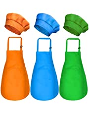 6 Pieces Kids Chef Hat Apron Set, Boys Girls Aprons for Kids Adjustable Cotton Aprons Kitchen Bib Aprons with 2 Pockets for Kitchen Cooking Baking Wear