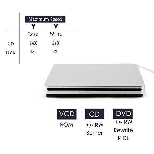 External CD DVD Drive Sunreal Ultra Slim Portable USB 2.0 CD+/-RW DVD +/-RW Burner Writer Player for Apple Mac Macbook Pro/Air iMac Laptop by Sunreal (Image #2)