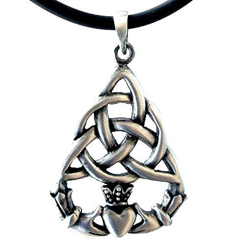 (OhDeal4U Celtic Triquetra Claddagh Heart Pagan Silver Pewter Pendant Charm Amulet w Necklace (Black PVC Cord))