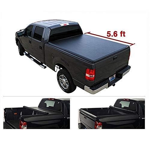 5.6ft(67in.) Tonneau Cover Assembly for 04-14 Ford F150 06-14 Lincoln Mark LT Pickup Black Vinyl Roll up Styleside Bed