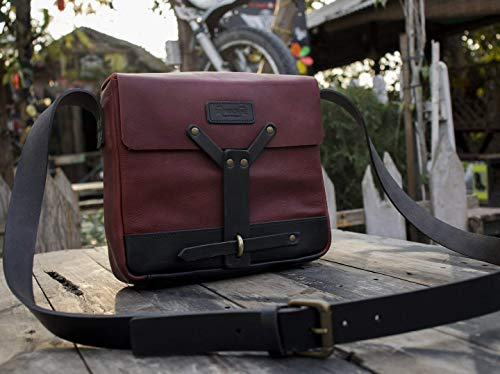 Leather Vintage Messenger Bag/Satchel - Cherry Red ()