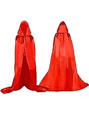 Proumhang Larga Capa con Capucha Medieval Vampiro Traje de Bruja Mujer Halloween Disfraz Carnaval Navidad Adulto
