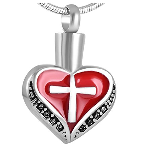 Red (Pendant+Necklace) Heart with cross logo urn ashes memorial keepsake - Cross Heart And Logo