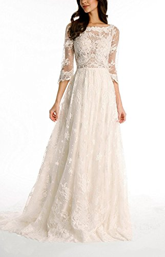 Long Lace 3 Bohemian Ivory Sleeves D 4 With S Gown Trailing Bridal Wedding Dress H T4zfxC