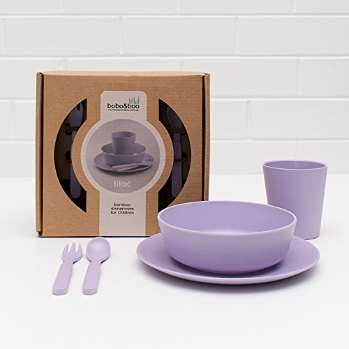 Bobo&Boo Bamboo 5 Piece Children's Dinnerware, Lilac Purple, Non Toxic & Eco Friendly Kids Mealtime Set for Healthy Infant Feeding, Great Gift for Baby Showers, Birthdays & Preschool Graduations