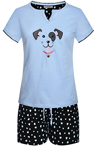 Dog Print Pajama - SofiePJ Womens Embroidery Printed Cotton Short Pajama Set,Light Blue Black Dog Face,X-Large