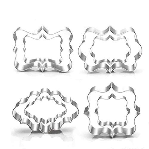 - Jasonsy Plaque Cookie Cutter Set - 8 Piece - Square,Oval,Rectangle,Photo Plaques Frame Fondant Cutters -Stainless Steel(Assorted Sizes)