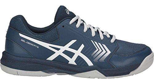 ASICS E707Y Men's Gel-Dedicate Running Shoe, Dark Blue/Silver/White - 11 D (M) US (Dark Tennis Shoes)