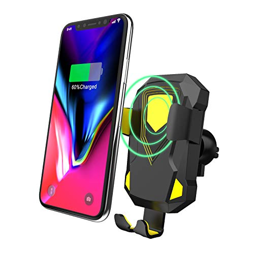 Fast Wireless Car Charger QI Wireless Charger Car Mount with Air Vent Phone Holder Suction Mount for iPhone Xs/iPhone XR, All Qi-Enabled Devices