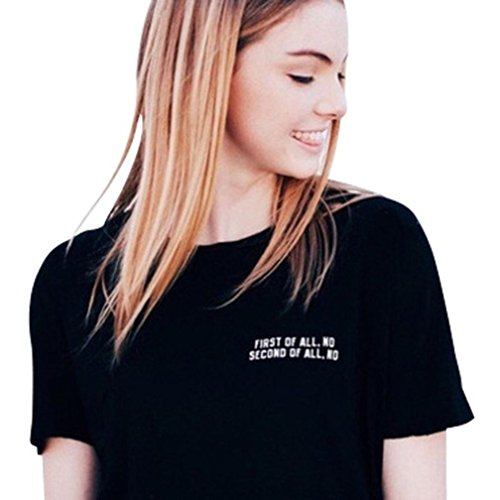 Wintialy Women Short Sleeve Tops First Of All. No Second Of All. No Printed Casual Blouse T-Shirt Tee from Wintialy women clothes