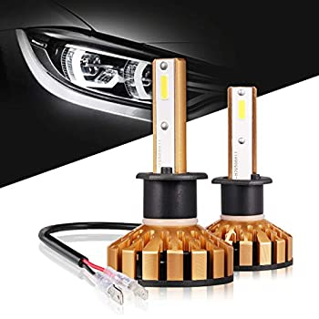 H1 LED Headlight Bulbs 50W 10000 Lumens 6000K Xenon White Extremely Bright COB Chips Error-free Led Conversion Kit Motorcycle and Car Headlight by Max5-2 Yr ...