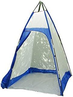 Nexos Duschkabine Umkleidezelt für Camping Gerätezelt weiß blau Zelt 140 x 140 x 205 cm
