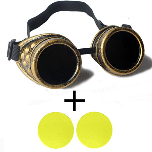 Careonline Goggles Steampunk Welding Cosplay Vintage Spikes Goggles - Glasses Case Minion