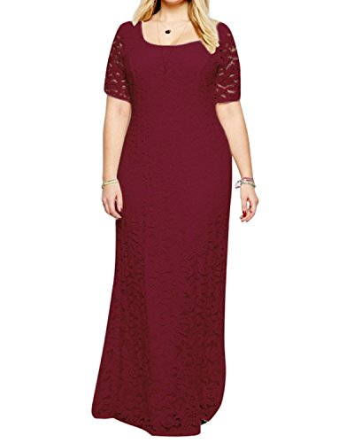 Daci Women's Plus Size Floral Lace Short Sleeve Wedding Formal Maxi Dress Wine 20W