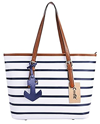 Coofit Stripes Purse Tote Shoulder bag Womens Handbag PU Leather Purse with Sea Anchor Pendant