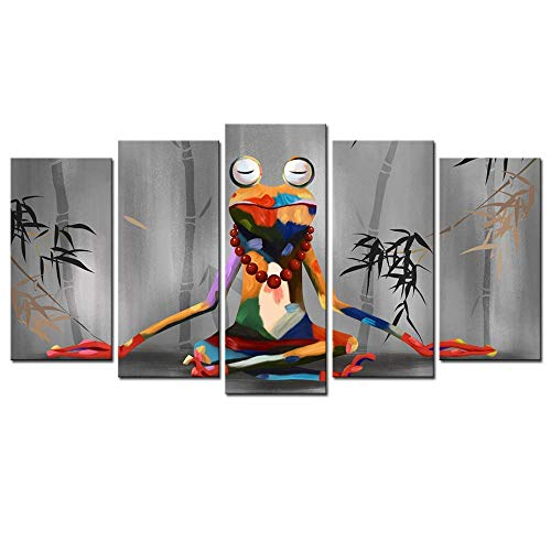 NATVVA Canvas Print Wall Art Modern Frog Buddha Meditation Painting Picture Funny Animal Art Prints Contemporary Home Decoration Stretched Gallery Canvas Wrap Frog Art Ready to Hang by NATVVA