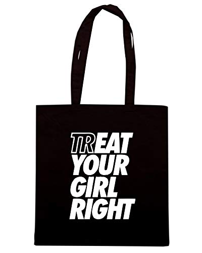 Speed Shirt Borsa Shopper Nera ENJOY0141 TREAT EAT YOUR GIRL RIGHT