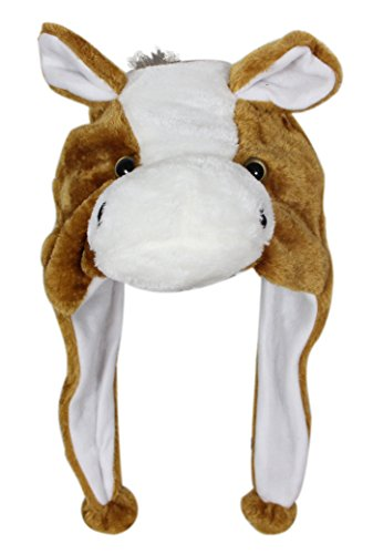 Make A Horse Head Costume (Bioterti Plush Fun Animal Hats –One Size Cap - 100% Polyester With Fleece Lining (Brown Horse))