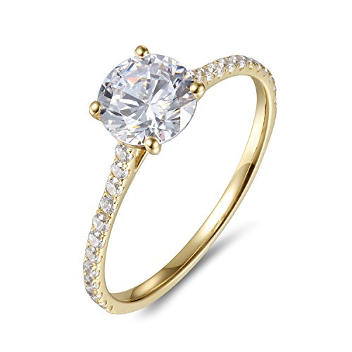 - Lamrowfay 1Ct Halo Solitaire Cubic Zirconia Promise Engagement Ring in 14K Rose Gold or White Gold or Yellow Gold, 1.70cttw (Yellow-Gold, 6.5)