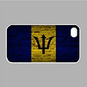 Barbados Flag Brick Wall iPhone 5 and iPhone 5s White Silcone Rubber Case - Fits iPhone 5 and iPhone 5s - Made of Silcone Rubber Providing Great Protection