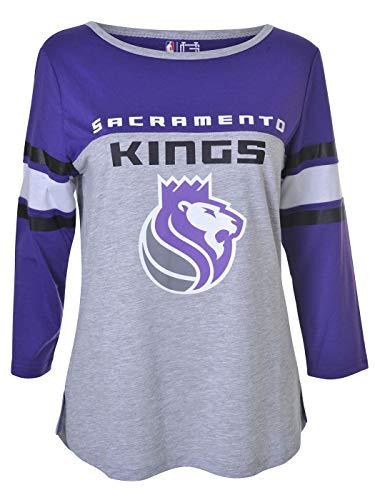 Ultra Game NBA Sacramento Kings Womens T-Shirt Raglan Baseball 3//4 Long Sleeve Tee Shirt Heather Gray X-Large