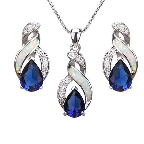 Hermosa Jewelry Sets Australian Opal Blue Sapphire Necklace Earrings (JS10) (Necklace Blue Topaz Opal)