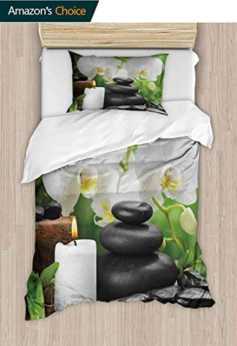 Spa Diy Quilt Cover and Pillowcase Set, Zen Hot Massage Stones with Orchid Candles and Magnificent Nature Remedies, 2 Piece (1 Duvet Cover + 1 Pillow Sham)-110 GSM Ultra Soft Hypoallergenic Microfiber