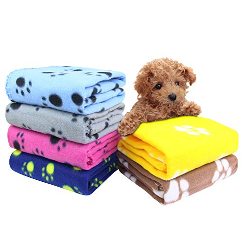 AK KYC 6 Pack Mixed Puppy Blanket Cushion Dog Cat Fleece Blankets Pet Sleep Mat Pad Bed Cover with Paw Print Kitten Soft Warm Blanket for Animals, A from AK KYC