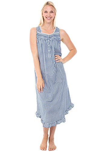 Alexander Del Rossa Women's Lightweight Cotton Lawn Nightgown - Long Victorian Style Pajamas, Full Length, Large Navy Blue Gingham (A0581V87LG)